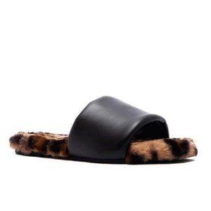 Leopard Faux Fur & Vegan Leather Slides
